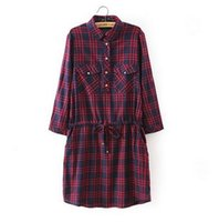 Wholesale Red Plaid Tunic - Women Plaid Shirt Dress Vestido Casual School Girl Robes Red Plaided Sashes Fall Fashion Clothing Tunic Female Gowns Dresses