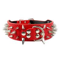 rosa spike halsbänder großhandel-Rosa gemischte Größen Spiked Leder Hundehalsbänder Pitbull Mastiff Halsbänder Studded Pet Halsbänder