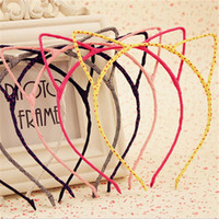 Wholesale Wholesale Cat Ear Headband - 2015 Girls Hair Accessories Korean New Cute Cat Ears Headband Children Headdress Girls Hairpin Fine Accessories 20 Piece lot BY0000