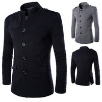 Wholesale British Tunic - Fall-British Collar Of New Fund Of 2015 Autumn Winters Is Recreational Suit Chinese Tunic Suit Men's Wool Coat Men