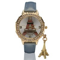 Wholesale Military Royale Watches - Hot Selling Casual PU Leather Tower Fashion Wristwatches Bracelet Women Dress Clock Women Christmas Gift Watch