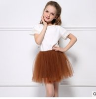 Wholesale Wholesale Mesh Skirts - INS new girls princess lace tutu skirts Children four-layer mesh gauze skirts kids girls lace party skirts girls all-match full-skirts G1534