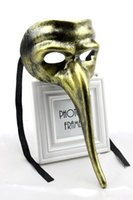 Wholesale Old Men Mask - New Venetian Zanni masks old-fashioned plastic long nose mask Gold color Festive and party supplies Drop shipping