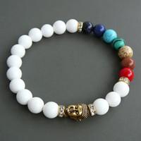 ingrosso braccialetti di buddha di giada-designer braccialetto in rilievo SN0252 Mala Buddha 7 bracciale chakra regalo moda giada bianca braccialetto tibetano in rilievo