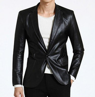 Wholesale Mens Faux Leather Blazer - Fall-Brown deep green casual autumn suits faux leather jacket men blazer mens leather jackets and coats fashion brand-clothing 2XL
