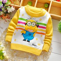 Wholesale Hot Minion Costume - 2015 Autumn Winter Hot Children Sweaters Pure Cotton Five-pointed Stars Kids Pullovers Lovely Cartoon Minions Costumes For Kids CR358 XQZ