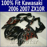 Wholesale Kawasaki Motorcycle Body Parts - Injection molding fairing body kit for Kawasaki ninja fairings ZX10R 2006 2007 06 07 ZX 10R red flames in black motorcycle parts JU56