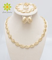 Wholesale elegant woman costumes jewelry for sale - K Gold Plated Jewelry Sets For Wedding Fashion African Women Elegant Costume Necklace Sets