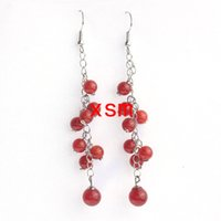 Wholesale Earrings Lo - New Arrival, Hot Selling 2015 Fashion Classic Handcraft DIY Red Agate Beads Tassel Earring For Women 10pairs lo