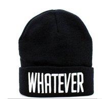 ingrosso beanie snapback-Inverno Black Whatever Beanie Hat e Snapback per uomo inverno Cappuccio da donna 20pcs / lot Spedizione gratuita