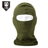 Wholesale Navy Seal Face Mask - Wholesale-Army Green Polyester Motorcycle Cycling Ski Neck protecting Balaclava Full Face Mask Protection Luminous Skeleton CS Navy Seals