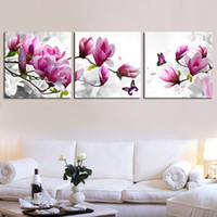 Wholesale Magnolia Wall - Purple Magnolia butterfly cross stitch kit embroidery flower cross-stitch painting DIY handmade needlework set wall home decor