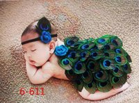 Wholesale Peacock Feathers Cape - Baby Photography Props Costume kids Peacock Outfit Newborn Toddler Cape with Feather Headband Crochet Animal Set