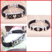 Wholesale Wrap Style Bracelets - Wholesale-QN W6060 free shipping punk style skeleton skull titanium wrap bracelets three type to choose 3pcs lot