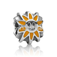 Wholesale Silver Smile Charms - 2014 New Smile Sun Flower design 925 Sterling Silver European Screw Bead Charm Handmade Antique Jewelry Snake pandora Bracelet Chain 1pcs up