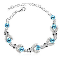 браслеты из австрийских кристаллов оптовых-Swarovski элементы австрийский хрусталь браслет высокое качество серебра Роуз позолоченные мода ювелирные изделия свадебный подарок бесплатная доставка 10pcs/много