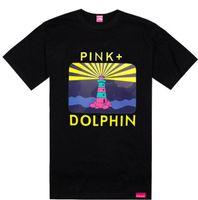 streetwear pink dolphin venda por atacado-Subindo Sun Sail rosa golfinho tshirts famosa marca tees streetwear hip hop t-shirt de verão venda quente rocha roupas de algodão, frete grátis tee
