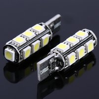 Wholesale Smd Canbus 13 - Free Shipping 10pcs lot T10 13 smd 5050 led Canbus Error Free Car Lights BULB W5W 194 13SMD LIGHT BULBS NO OBC ERROR White Decode K509