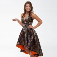 Wholesale Satin Brides Maid Dresses - 2017 High Low Realtree Camoflage Camo Bridesmaid Dresses Halter Neckline Plus Size Bride Maid of Honor Dress Orange Camo Wedding Party Gowns