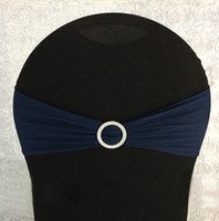 Wholesale Stretch Chair Sashes - Wholesale-200pcs Navy Blue Stretch Spandex Chair Sash Bows Elastic Lycra Chair Bands With Plastic Round Buckle Banquet Wedding Decoration