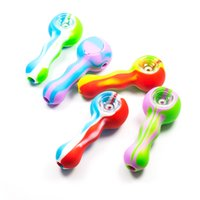 Wholesale Tobacco Wholesale Free Shipping - New Silicone Smoking Pipe hand pipes Smoking Pipe with thick bowl spoon style for tobacco dry herb glass water pipe free shipping