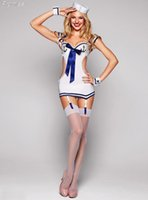 Wholesale Sailor Clothes For Girl - Wholesale-New Arrival Halloween Costumes for Women Cosplay navy white sailor costume suit backless dress girl sexy Bar clothing