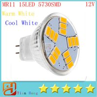 Wholesale Gu4 12v - New MR11 9w GU4 600LM LED Bulb Lamp SMD5730 15leds White Warm White led spotlight Led Lighting Free Shipping Ultra Bright