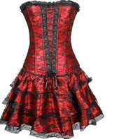 Wholesale Corset Casual Dresses - burlesque corset skirt dresses corset and bustier lace evening women casual corset dress plus size push up gothic corset dress with skirt