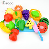 Wholesale Toy Vegetables For Baby - Wholesale- TOFOCO 2017 New 12 18 23pcs Plastic Model Fruit Vegetable Cutting Kitchen Toys For Kids Play Educational Toy Baby Unisex Gifts