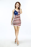 Wholesale Ladies Sexy Night Outfits - Mini Sequin Sexy Ladies Vertical American USA Flag Club Bodycon Body Club Cocktail Fancy Party Dress Costume Outfits