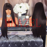 Wholesale Remy Hair Wigs Bangs - MHAZEL Straight Glueless Brazilian Fringe Hair Full Lace Front Human Hair Wigs with Bangs Non-Remy Hair
