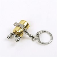 Wholesale Flying Fisherman - Fish Wheel keychain Gold Color Fly Fisherman Spinning Fishing Reel Charactor Miniature Key chain With Key Ring