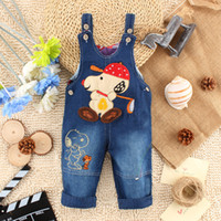 Wholesale Baby Denim Overalls - Baby denim overalls Children jeans overalls suspender 2015 new children Small animal Denim straps 12 Styles B001