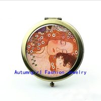 Wholesale Metal Antique Pocket Mirror - New Arrival Klimt's Mother and Child Photo Mirror Antique Pocket Mirrors Brand Cosmetic Mirror--00343