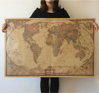 Wholesale New Vintage Style Paper - 2015 New Vintage Style World Map Wall Paper Archaize Exquisite Kraft Paper Retro Poster Wall Decoration Educational Wall Decal