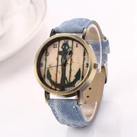 Wholesale Antique Anchor Pin - Fashion Denim Leather Watch Women Quartz Wrist Watches Fabric Imitation Sports Electronic Watch Japan Movement Anchor