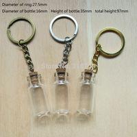 Wholesale Bottle Glass Pendant Cork - 3ml Small Glass Bottle with Key Chain, 3ml Glass Bottle Pendant with Eye Hook Mini Cork wishing bottle and gift bottles