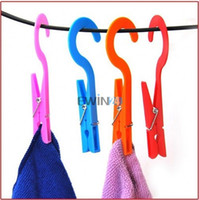 Wholesale Travel Clothes Hook - Multifunction Portable Home Laundry Travel Clothes Towels Hanger Hook Clips 2pcs lot PP Material 12.7 cm Free Shipping