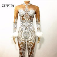 Wholesale Stage Sexy Outfits - Sexy White Lace Nude Rhinestone Jumpsuit Female Singer Sexy Stage Wear Bodysuit One-piece Costume Glisten Stones Stretch Outfit