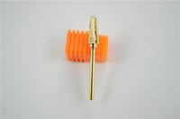 pedacito de oro al por mayor-Venta al por mayor-MN-Nuevo 2014 Gold Electric Nail Drill Carburo Invertido Relleno de demanda Bit acrílico Nail Art Tools para la salud Belleza
