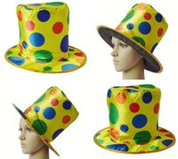 Wholesale Easter Character Costume - Clown Top Hat Polka Dot Rainbow Circus Magician Cap Halloween Costume Fancy Dress Fun Party Decoration