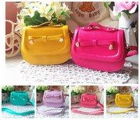 Wholesale Girls Candy Color Messenger Bag - Kids tote bag candy color bowknot Fashion Messenger Bags Children's Purses Girl Mini Summer shopping Bags 4 color KKA3393
