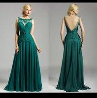 Wholesale Mother Bride Emerald - 2016 Elegant Emerald Green Mother Of The Bride Groom Dresses Crew Sheer Lace Applique A Line Chiffon Women Evening Formal Dress