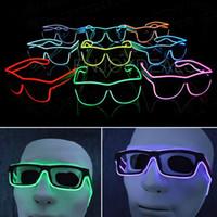 неоновые очки оптовых-Простые стекла el el провода модный Неоновый светодиодный свет вверх затвора формы свечение солнцезащитные очки рейв костюм вечеринки DJ яркий солнцезащитные очки
