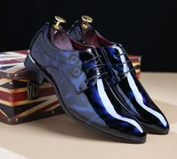 Wholesale Leather Shiny Pvc - New arrival shiny Men's Casual Loafers Dress Shoes luxury brand Italy Style Man Party Wedding Shoes Business leather shoes 243