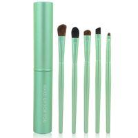 Wholesale Make Up Tubes - 5PCS Set Professional Pony Hair Eye Makeup Tool Eyeshadow Brushes Set Cosmetic Kit with Round Tube MAKE UP FOR YOU H10780