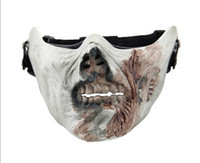 Wholesale Ghost Paintball Mask - Zombie Skeleton Death Skull Bone Half Face Ghost Mask For Movie Prop Airsoft Paintball Protect Safe cosplay Guard grey white color