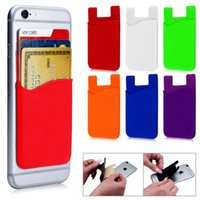 Wholesale Transparent Mobile Stickers - Soft Silicone Wallet Credit Card Cash Pocket Sticker Adhesive Holder Pouch for samsung Mobile Phone 3M Gadget for iphone 6S 7 8 PLUS X