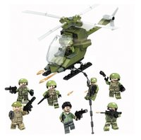 Wholesale Plastic Model Helicopters - 8pcs lot 8in1 Military Helicopter Army Soldiers Building Blocks Sets Model Bricks Educational Assembled Toys Children Gift