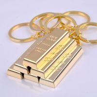 Wholesale 24k pure gold pendant - Pure gold key chain golden keychains keyrings women handbag charms pendant metal key finder luxury man car key rings accessory gift